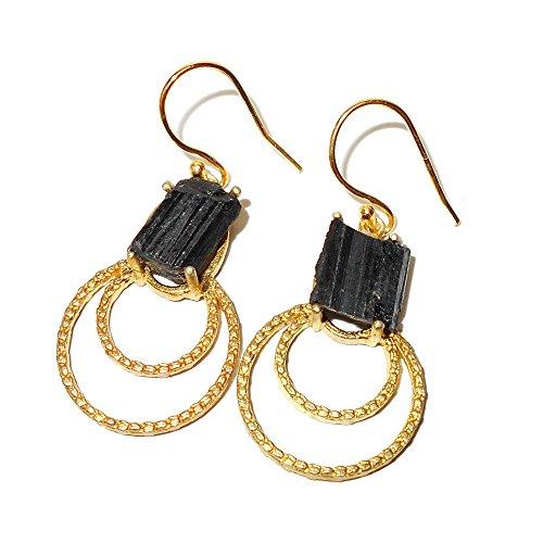 Hecho a mano 22K Oro Vermeil negro turmalina Gemstone pequeño pendientes de got