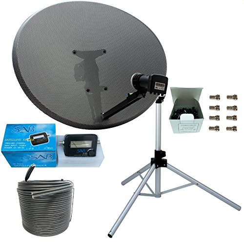 SSL Satellites work with Sky or Freesat Satellite Tripod and Dish Set for Caravan, Camping Complete with Tripod, MK 4 80cm Sky Dish, Quad LNB, 20M Black Twin Coax Cable, Clamp, Satellite Meter Finder