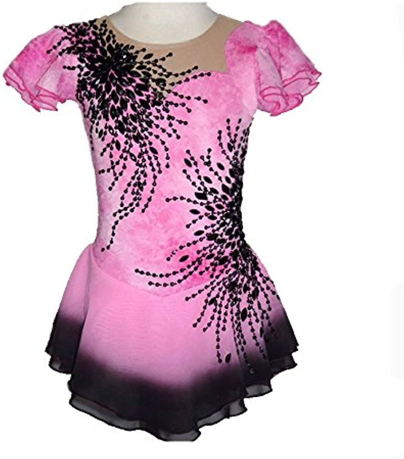 Figure Skating Dress For Girls Women Ice Skating Competition HighEnd Crystal Elastic Stretchy Round Neck Quick Dry Short Sleeves Handmade Skating Wear Pink
