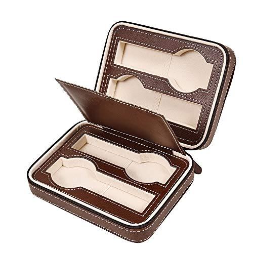 HO-TBO Uhrengehäuse 4 Grids Zipper-Uhr-Storage Box Schmuck-Vitrine for Männer und Frauen Schwarz Thanksgiving-Männer Geschenk (Color : Brown, Size : 18x14x6cm)