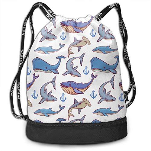 XCNGG Mochila con cordón Ocean Creatures Big Whale Paquete Multifuncional Mochila Mochila con Compartimento para Zapatos Bolsa de Cuerda para Hombres Mujeres Adolescentes Natación Deportes Gimnas