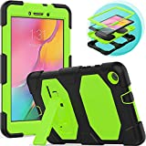Timecity Galaxy Tab A 8.0' Case (Only Fit SM-T290/SM-T295 2019 Release).Rugged Stand Case for Galaxy Tab A 8.0 Inch 2019 Without S Pen Tablet Model SM-T290N (Wi-Fi) SM-T295 (LTE)–Black+Green