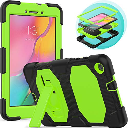 Timecity Samsung Galaxy Tab A8 Case (Only Fit SM-T290N/SM-T295N 2019 Release).Rugged Stand Case for Galaxy Tab A 8.0 Inch 2019 Without S Pen Tablet Model SM-T290N (Wi-Fi) SM-T295N (LTE)–Black+Green