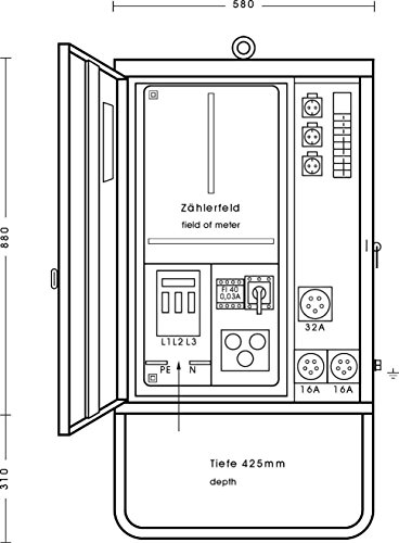 Elektra Tailfingen Anschlußverteilerschrank AV 32/321-1 22kVA 1xFI 40/0,03A Baustromverteiler 4018325560044