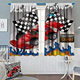 Brccee AC Kids Decor Window Curtain Drape Race Car with Finish Line Flags Pilot and Flames with Abstract Gray Background Decorative Curtains for Living Room 52'x63' Multicolor