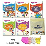 UKG Books for Kids CBSE - ALL IN ONE BOOK SET - English Alphabets, English Writing, Maths, GK, Colouring 4-6 years [276 pages] + N95 (1 Mask Free) + Books Pouch