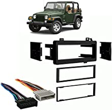 Compatible with Jeep Wrangler 1997-2002 Single DIN Stereo Harness Radio Install Dash Kit