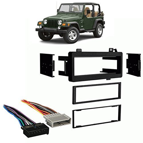 Compatible with Jeep Wrangler 1997 1998 1999 2000 2001 2002 Single DIN Stereo Harness Radio Install Dash Kit Package