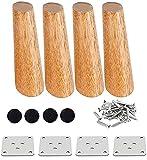 4 patas de madera maciza con conos oblicuos de repuesto para muebles, patas de sofá de madera, color madera de roble para sillas y sofás, con tornillos y deslizadores de fieltro (25 cm)