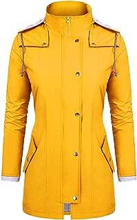 YOCheerful Windproof Coat Women Causal Rain Jacket Outdoor Plus Size Waterproof Hooded Raincoat