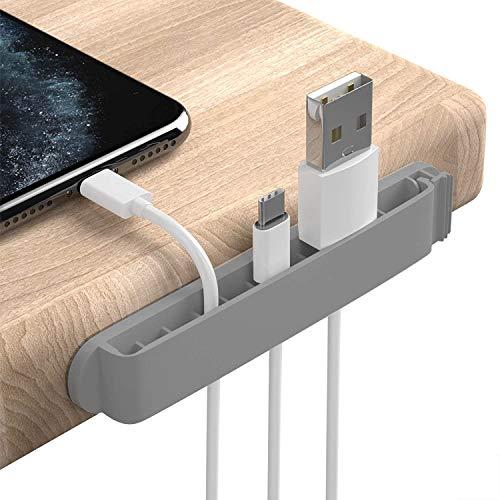 PZOZ 3 Stück Kabelhalter Kabelclips,für Ladegeräte,Netzkabel,USB Cable Ladekabel,Kabelklemme Set für Schreibtisch (grau)