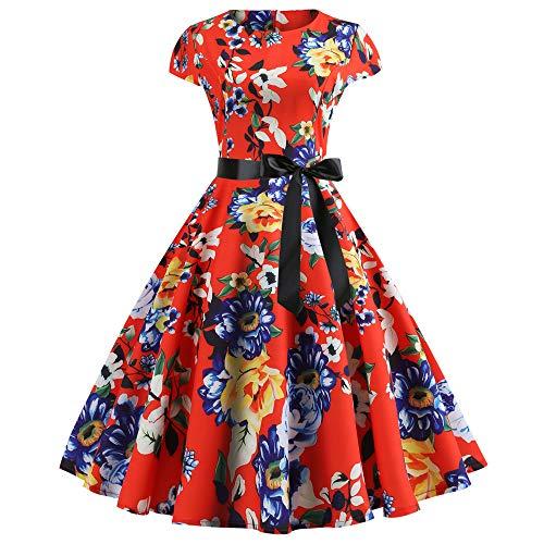 YAYAKI 50s Retro Schwingen Rockabilly Vintage Kleid Cocktailkleider Faltenrock Damen Modedruck Rockabilly Kleid Elegant Hepburn Stil Rundhalsrock Bequemer Partykleid +Bow Gürtel(Rot-8,XL)