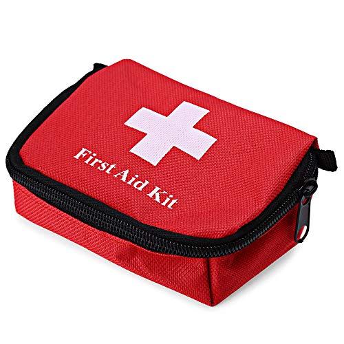 QIjinlook Erste Hilfe Set - Survival Kit mit Bonus Notfall Trillerpfeife - für Notfälle in der Familie - Zuhause Auto Reisen Camping und Outdoor Aktivitäten - Wandern (Rot)