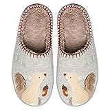 Zapatillas para Mujer para Mujer Zapatos De Interior Casa Cálida Poja Cerrada Toe Antideslizante Ligero Confort Zapatillas De Dibujos Animados,Gris,36 EU