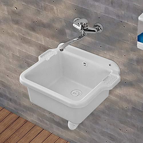Pilozzo Lavatoio in Resina, 58x45 cm Bianco, con Portasapone, Ideale per Installazione a Muro