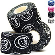 WOD Nation Weightlifting Hook Grip Tape - 3 Pack 23 Feet Long Sticky, Comfortable & Stretchy Athletic Tape for Weight Lifting - Thumb, Hand & Finger Protection - Black