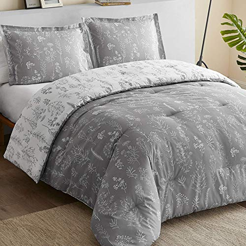 Bedsure Floral Queen Comforter Set - Reversible Flowers and Plants Printed Botanical Queen Bed Comforter Set, 3 Pieces Bedding Set with 2 Pillow Shams (Grey & White, Queen)