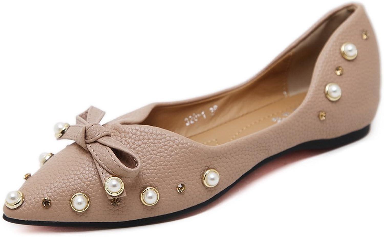 AdeeSu Womens Beaded Bows Pointed-Toe Urethane Flats shoes
