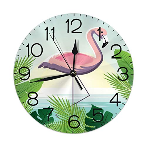 Dujiea Flamingo with Banana Leaf Round Wall Clock Silent Non Ticking Battery Operated 9.5 Inch for Student Office School Home Decorative Clock Art