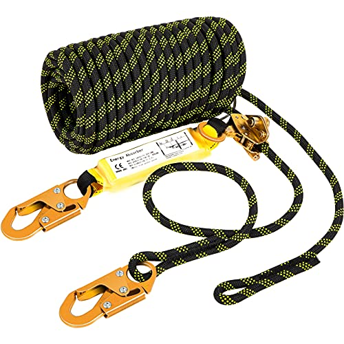 VEVOR Vertical Lifeline Assembly, 50 ft Fall Protection Rope, Polyester Roofing Rope, CE Compliant Fall Arrest Protection Equipment with Alloy Steel Rope Grab, Two Snap Hooks, Shock Absorber