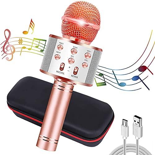 CHENAN Microfono Karaoke Wireless Bluetooth, Oro Rosa 4 in 1 Wireless Portatile Karaoke Microfono con Altoparlante per Cantare, per Adulti e Bambini Compatibile con Android/iOS/PC or smartphone