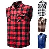 Camisa para Hombre sin Mangas Cuadros Casual Verano Camisa Manga Corta Blusa Tops T-Shirt Lino para Hombre Polo Blusa Sudadera (4, L)