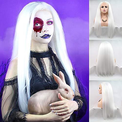 Karissa haar lange rechte yaki witte kant synthetisch haar pruiken voor vrouwen beste gratis deel cosplay halloween kostuum pruiken met baby haar 24inch