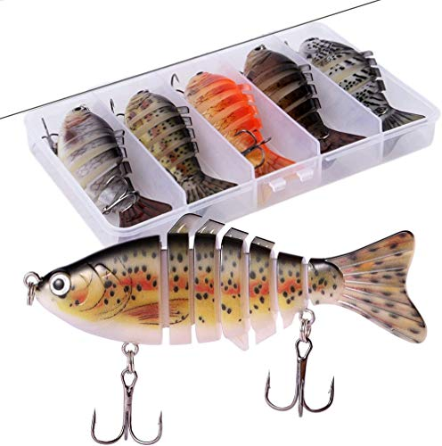 Aneew Pack of 5 Fishing Lures Crankbait Multi Jointed Swimbait 7 Segment Lifelike Simulation Minnow Bass Sinking for Sea Freshwater Saltwater Topwater 10cm/16g with Box(B Style-5pcs)