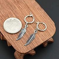 Stud Earring 3 Fashion Men Punk Earrings Feather Tassel Long Chain Pendant Stainless Steel Stud Earring Unisex Trend Rock Hipster Ear Clip Gift