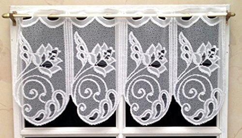 Rideau Brise bise 30 cm Blanc Brillant Floqué Réf. 306390.30