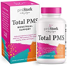 Pink Stork Total PMS Relief Supplement: Period Relief + Hormones for Healthy Flow & Menstrual Cycle, Cramping + Bloating Relief, Magnesium + Vitamin B12 + Chastetree Berry, Women-Owned, 60 Capsules
