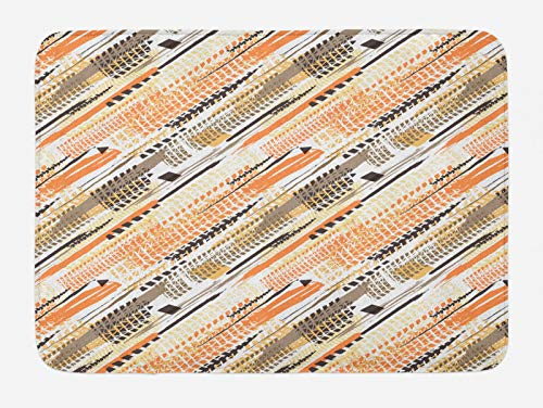 ABAKUHAUS Abstracto Tapete para Baño, Arte Continua Pistas del neumático, Decorativo de Felpa Estampada con Dorso Antideslizante, 45 cm x 75 cm, Blanco y Multicolor