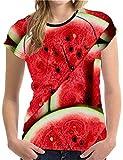 NONANA 3DT xushan Summer T Shirt Women T-Shirt 3D Fruit Printing Watermelon Cool Funny T Shirt,Xq0399bv,X-Large