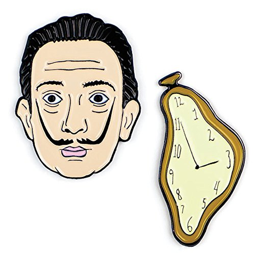 The Unemployed Philosophers Guild Dali and Watch Enamel Pin Set - 2 Unique Colored Metal Lapel Pins