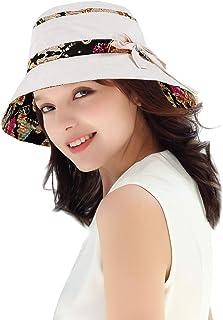 قبعة DOCILA العتيقة العرقية بالزهور للنساء قبعات شمس مرنة واسعة الحواف قبعات السفر لصياد السمك