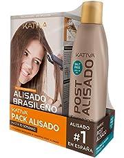 Kativa Pack Ahorro Kit Alisado Brasileño com Champú Post Alisado - Tratamiento Alisado Profesional En Casa - Hasta 12 Semanas de Duración - Alisado Keratina, 1 pack