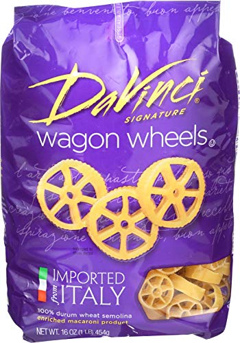 DaVinci Pasta Short Cuts, Wagon Wheels, 16 Ounce Bags (Pack of 12)