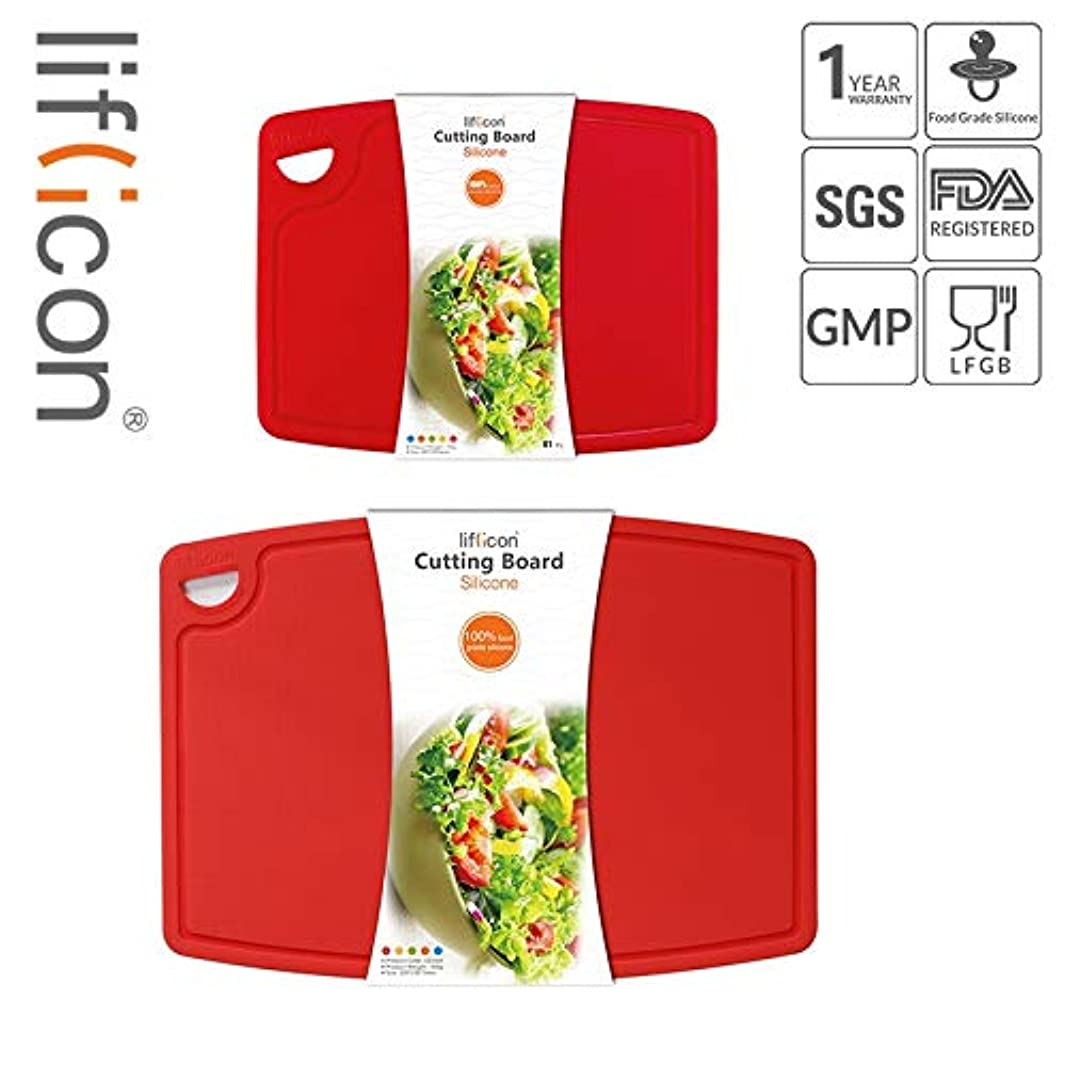 """Liflicon Thick Cutting Boards for Kitchen Silicone Chopping Board Set of 2 Mid 12.6'' x 9.1"""",Mini 9.1""""x7.1"""" Non-slip Deep Drip Juice Groove Easy Grip Handle,BPA Free,Non-porous,Dishwasher Safe-Red"""