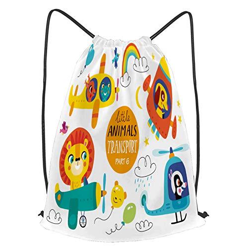 YMWEI Impermeable Bolsa de Cuerdas Saco de Gimnasio niños transporte set lindos animalitos Deporte Mochila para Playa Viaje Natación