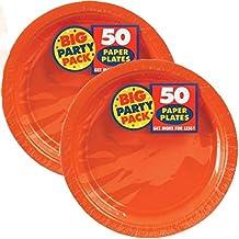 Amscan Orange Dinner Plates 9 Inch