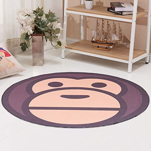 YPYSYL Runde Teppichmatte Cartoon Krabbelmatte liegend Groß, Dick, Dekorativ, Gemustert Kokos Fußmatten mit Naturmotiven, 60cm