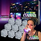 Lit Cubes (12 Pack) Premium LED Ice Cubes - Replaceable Batteries, 8 Color Changing Lights & On/Off Switch