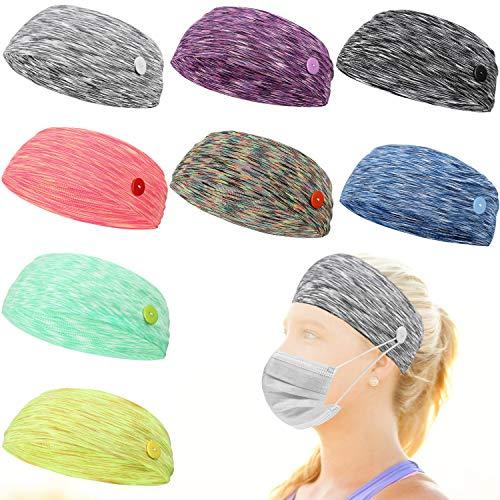 8 Pieces Button Headbands Nonslip Elastic Headbands Colorful Button Headwrap Yoga Running Workout Hairband Moisture Wicking Sweatband Hair Accessories for Women Men