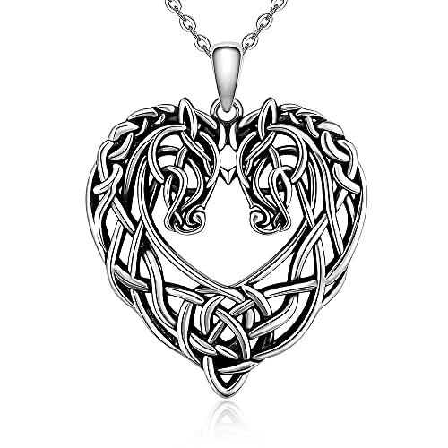 Horse Necklace Celtic Knot Heart Love Irish Sterling Silver Animal Couple Pendant Good Luck Irish Jewelry Gift for Women