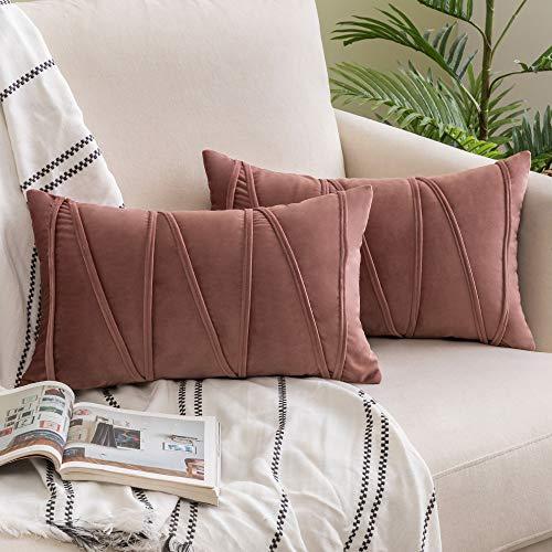 Woaboy - Juego de 2 fundas de almohada de terciopelo a rayas decorativas modernas y sólidas fundas de cojín suaves y acogedoras para cama, sofá, coche, sala de estar