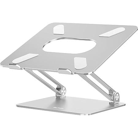 BoYata Laptop Stand, Ergonomic Aluminum Height Adjustable Laptop Mount Computer Stand Riser for Desk Compatible for MacBook Pro/Air, Surface, Samsung, Notebook Laptops (10-17'')(Silver)