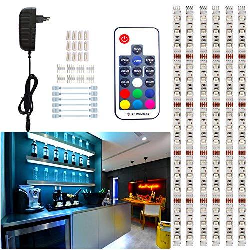 Tesfish strisce LED, 6PCS x 50cm 3M 5050 RGB sotto la luce dell'armadietto, luce dello scaffale, dimmerabile con alimentatore e telecomando per cucina, armadio, decorazioni per la casa