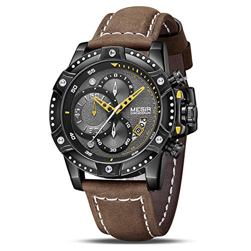 MEGIR Men's Analog Business Quartz Chronograph Watch with Brown Leather Strap Black Big Face for Sports (2130 Brown)