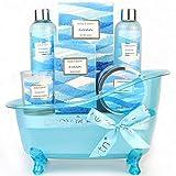 Cestas de regalo de spa para mujeres, Body&Earth cuerpo y tierra, set de regalo de baño de 6 piezas con aroma al océano , la mejor idea de regalo para las mujeres