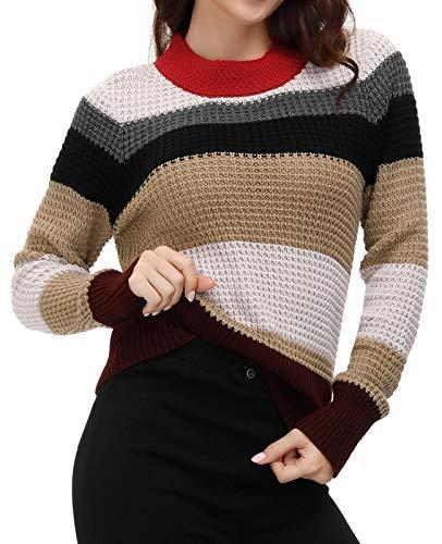 Belle Poque Womens Pullover Sweater Color Block Winter Sweater Mock Neck Multicolor Large Colorado
